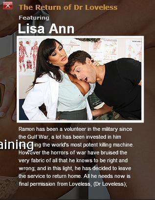 [DoctorAdventures.com / Brazzers.com] Lisa Ann (The Return of Dr Loveless) / Сексуальная медсестра обслужила военного  [2010 г., All sex, Big dicks, Big tits]*Released: May 06, 2010* (2010) SATRip