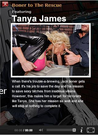 [Pornstarslikeitbig.com / Brazzers.com] Tanya James (Boner to The Rescue/3967) / Миссия спасения Sexy Bitches от коварных злодеев [big tits, blonde, blowjob, facial, boots, latex, 1080p] (2009) HDTV